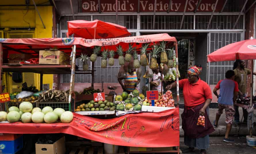 A grocery stall in Port of Spain, Trinidad.
