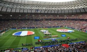 The French and Croatian teams line up for the national anthems ahead of the 2018 Fifa World Cup final in Moscow, Russia.