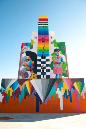 Legends from La Mancha mural in Calzada de Calatrava, La Mancha, Spain