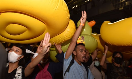 Thai protesters flood street with rubber ducks in 'coup prevention' drill