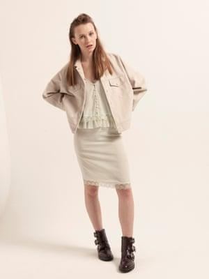 Modelt wears jacket, £49.99, reserved.com. Top, £116, and skirt, £145, both rouje.com. Boots, £79, marksandspencer.com.