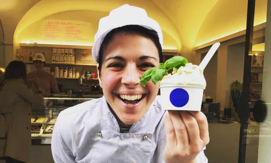 Martina Francesoni with basil gelato at Gelatina