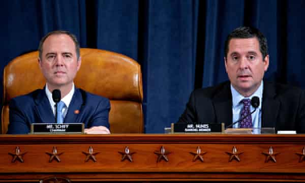 Adam Schiff, left, and Devin Nunes, right, during an impeachment inquiry hearing in Washington DC, on 21 November.