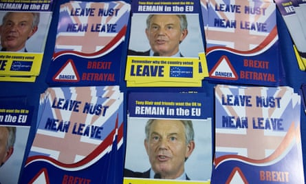 Pro-Brexit leaflets featuring the former prime minister Tony Blair.
