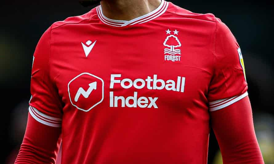 The Football Index logo on a Nottingham Forest shirt last month, before the club dropped it.