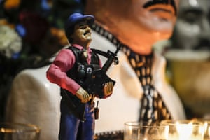 A statue of Mexican drug lord Joaquin 'El Chapo' Guzman is displayed at his chapel in Culiacán, Sinaloa. An arrest of his son erupted in cartel violence across the city.