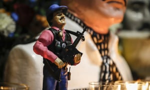 A statue of drug lord Joaquín 'El Chapo' Guzmán displayed for sale in Culiacan, Sinaloa. He remains a hero in his native Badiraguato.