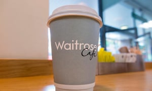 A cup of free coffee at a Waitrose supermarket