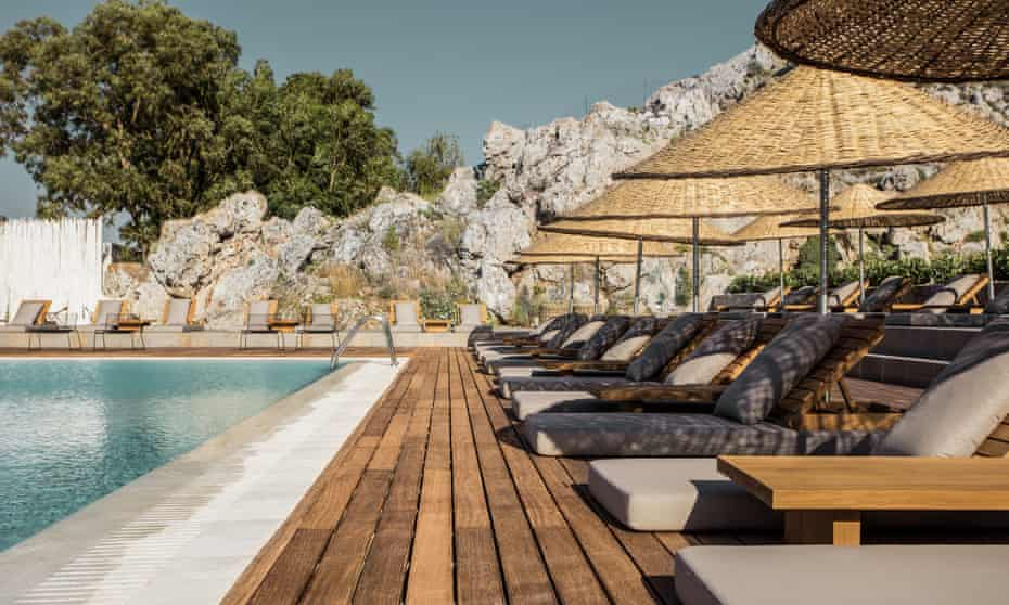 Sunloungers at the main pool at Casa Cook: Thomas Cook's new hotel concept in Rhodes.