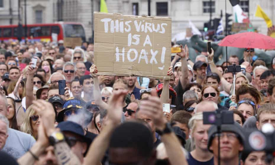 Protests in London against the vaccination programme and the government's approach to the pandemic.