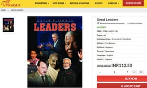 Great Leaders, with Hitler on its cover alongside figures including India's prime minister Narendra Modi, has since been pulled from sale on publisher Pegasus's website.