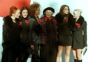The Spice Girls with Dame Vera Lynn launching the 1997 Poppy Appeal which raises money for the families of the British war dead.