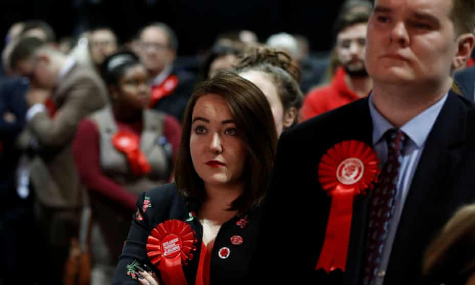 Labour party supporters on election night in Glasgow.