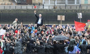 Labour leader Jeremy Corbyn at a rally at the Sage Gateshead on Monday evening.