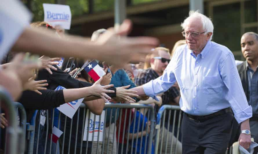 Bernie Sanders greets supporters at a rally Wednesday in Houston.
