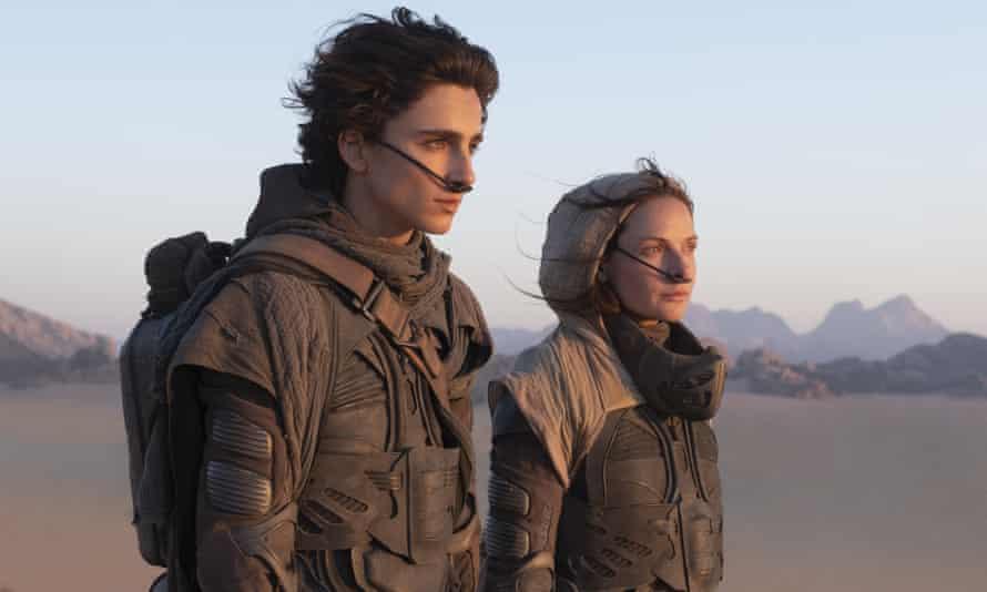 Timothee Chalamet and Rebecca Ferguson in Dune.
