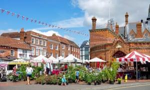 Outdoor stalls in Market Place, Wokingham, Berkshire