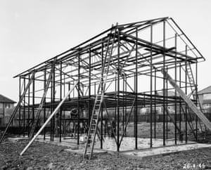 Steel frame of house