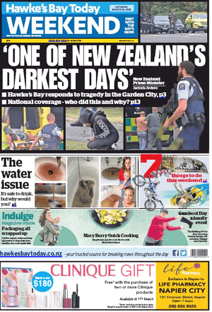 Hawke's Bay Today on 16 March 2019 after Christchurch shooting