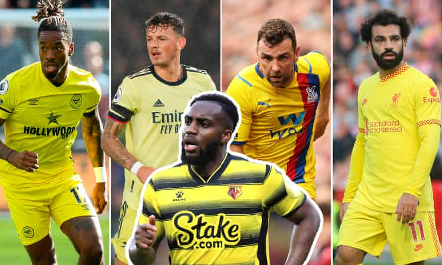 Some of the yellow kit brigade: Ivan Toney of Brentford, Ben White of Arsenal, Danny Rose of Watford, James McArthur of Crystal Palace and Mo Salah of Liverpool.