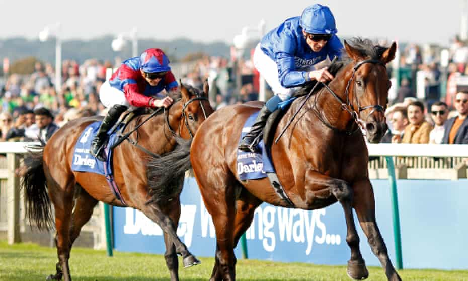 Native Trail beats Dubawi Legend by two lengths in the Dewhurst Stakes at Newmarket.