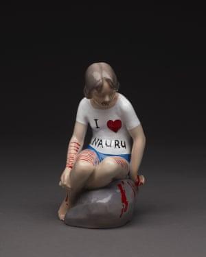 I Heart Nauru  repurposed porcelain figurine, enamel paints