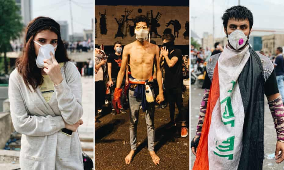 Three young anti-government protesters in Baghdad.