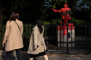 London, UK: Red paint covers a statue of Christopher Columbus in Belgrave Square Gardens