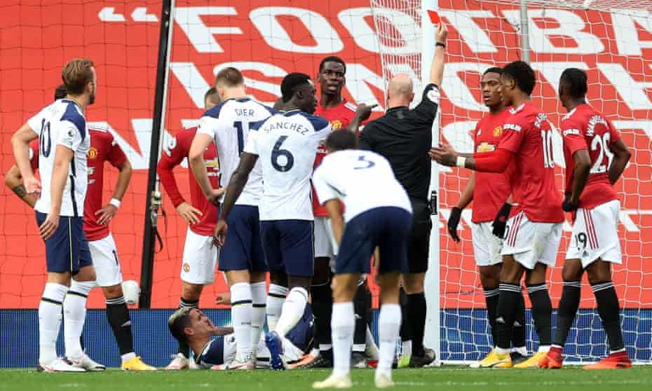Anthony Martial is sent off during Manchester United's 6-1 home defeat by Tottenham in October.