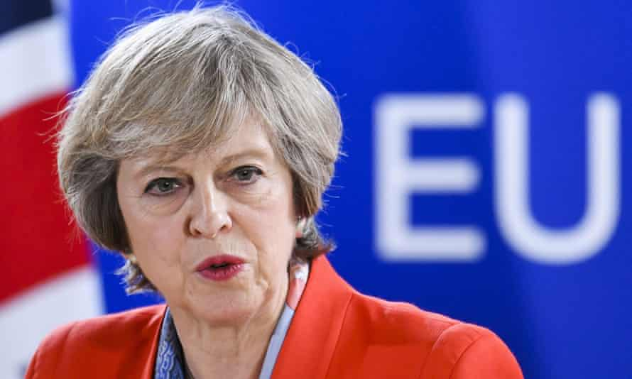 Theresa May at an EU conference
