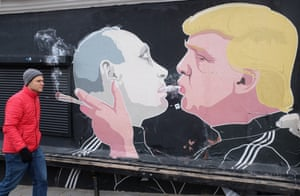 Mural of Trump and Putin in Lithuania