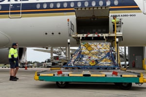 The first Australian shipment of the Pfizer Covid vaccine is unloaded from a Singapore Airlines plane at Sydney airport on Monday 15 February.