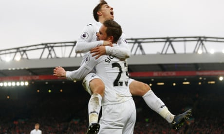 Gylfi Sigurdsson and Swansea stun Liverpool in five-goal thriller at Anfield