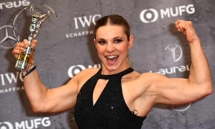 Oksana Masters celebrates after winning the Laureus World Sportsperson of the Year with a Disability award