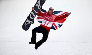 Great Britain's Billy Morgan celebrates as he wins a bronze medal at the Mens Big Air Final on Saturday.