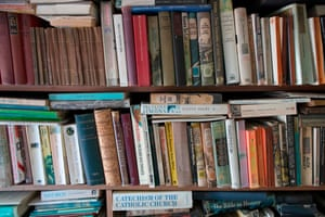 Rows of books in the bedroom