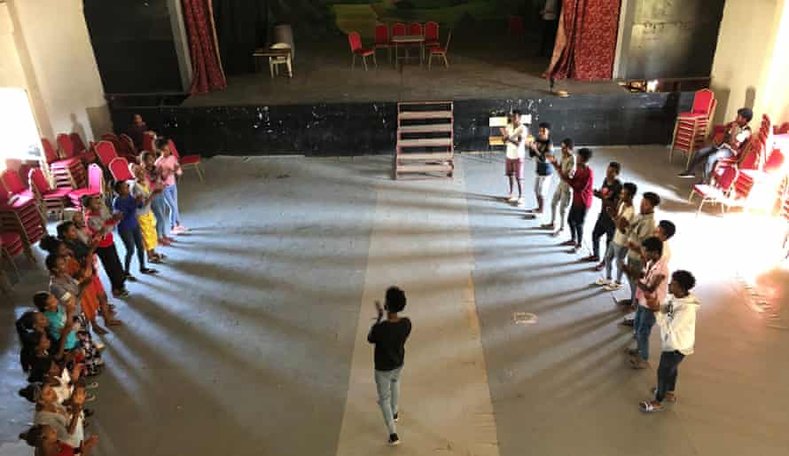 Students attend a drama rehearsal at Wolkite University