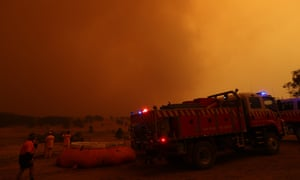 The sky turning black along the Yaouk Road north of Adaminaby as the fire front approached on Saturday.