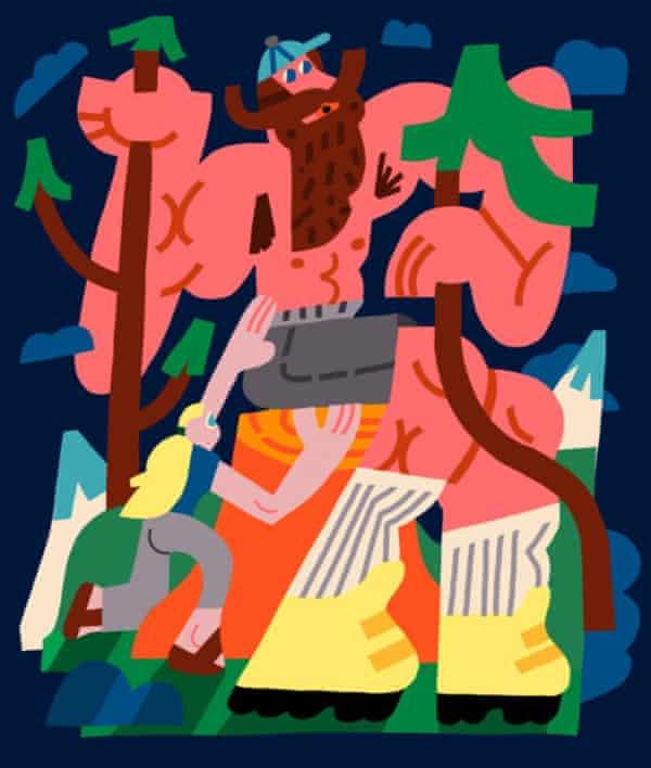 illustration of woman climbing giant man like a mountain