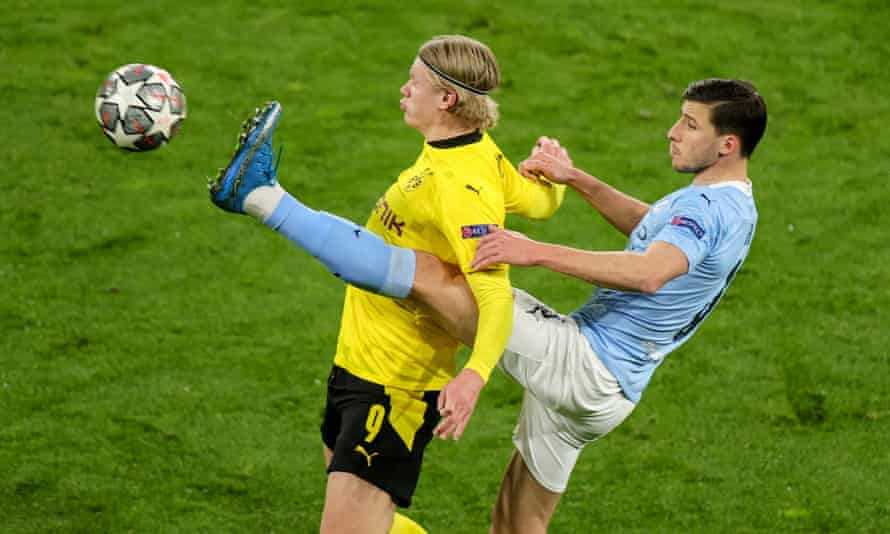 Dortmund's Erling Haaland (left) was mostly a passenger against Manchester City thanks to the attention of Ruben Dias.