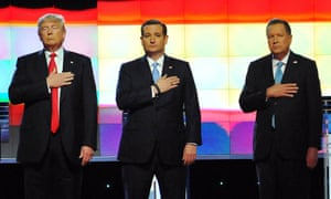 Donald Trump, Ted Cruz and John Kasich are introduced on stage before a Republican debate at University of Miami.