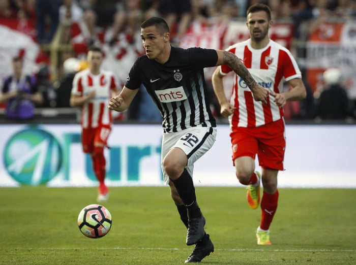Uros Djurdjevic in action for Partizan in the Serbian Cup final.
