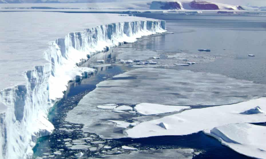 A view of the leading edge of the remaining part of the Larsen B ice shelf that extends into the northwest part of the Weddell Sea is seen in this handout photo taken on March 4, 2008.