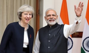 Theresa May with Indian Prime Minister Narendra Modi during bilateral talks and trade events.