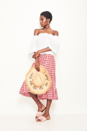 Beach Ready An off-the-shoulder top and gold hoops take your skirt from the office to the party Top, £24.99, hm.com Sandals, £40, riverisland.com Earrings, £120, theodorawarre.eu Hat, £25.99, zara.com Gingham skirt as before