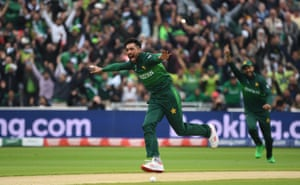 Amir celebrates taking Guptill for five.