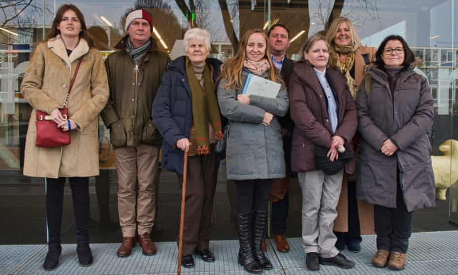 British nationals outside the court in Amsterdam where they won the right to take their case to the ECJ.