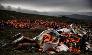 Wrecked boats and thousands of life jackets used by refugees for their journey across the Aegean Sea lie discarded in Greece.