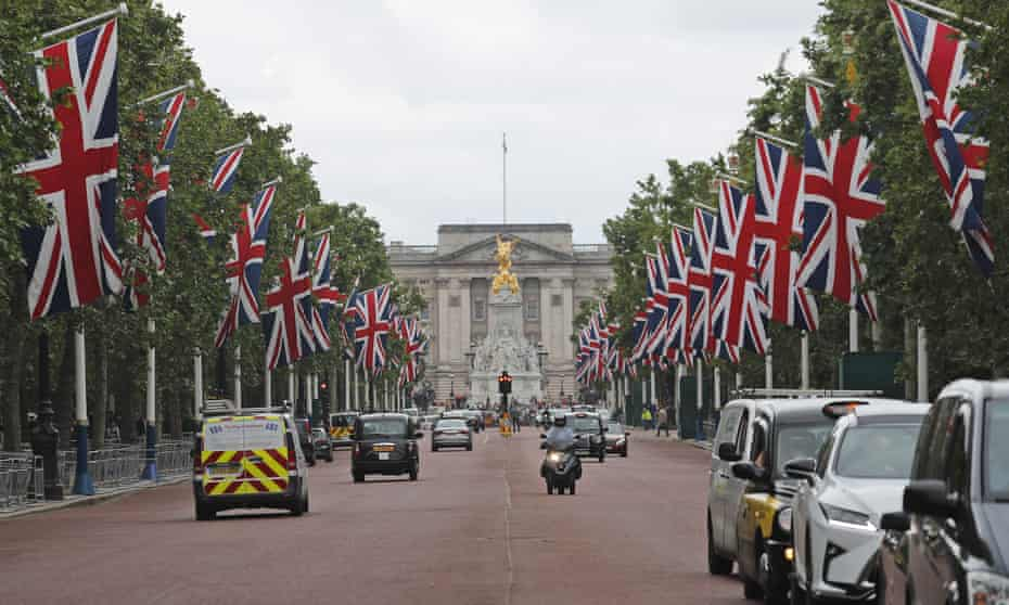 Union flags along Pall Mall on Friday in preparation for the state visit of the US president, Donald Trump.