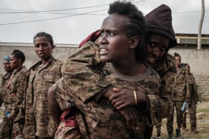 Soldiers arrive at the rehabilitation centre in Mekelle.